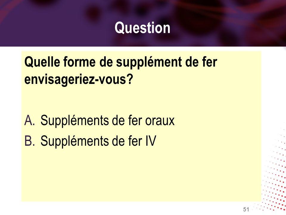 Question Quelle forme de supplément de fer envisageriez-vous? A.Suppléments de fer oraux B.Suppléments de fer IV 51