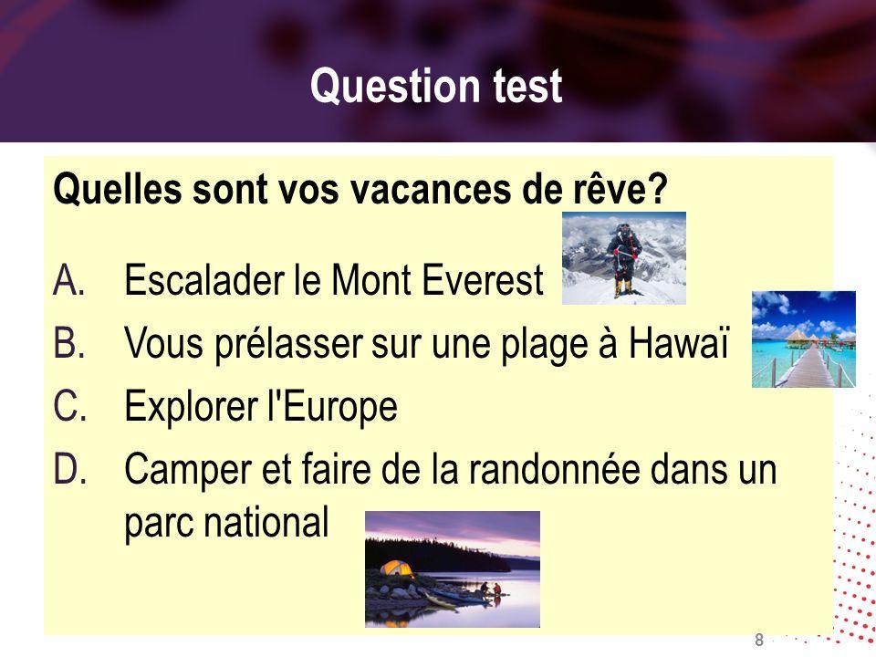Question test Quelles sont vos vacances de rêve? A.Escalader le Mont Everest B.Vous prélasser sur une plage à Hawaï C.Explorer l'Europe D.Camper et fa