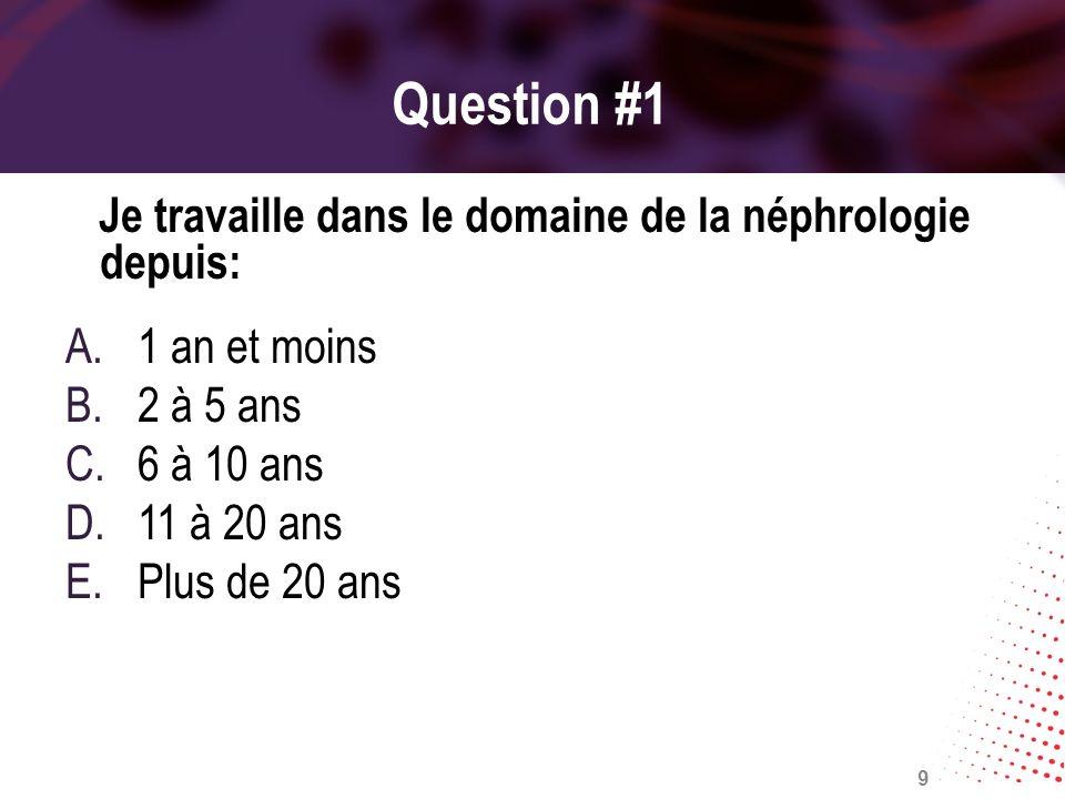 Question #1 Je travaille dans le domaine de la néphrologie depuis: A.1 an et moins B.2 à 5 ans C.6 à 10 ans D.11 à 20 ans E.Plus de 20 ans 9