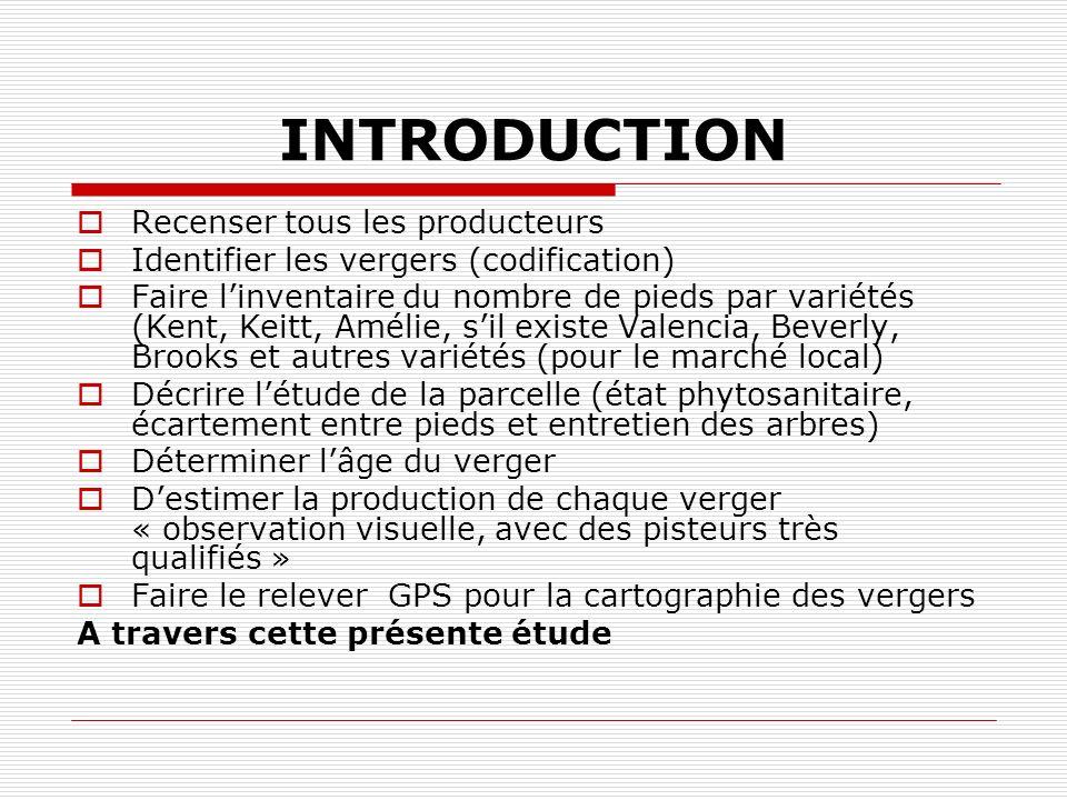 INTRODUCTION Recenser tous les producteurs Identifier les vergers (codification) Faire linventaire du nombre de pieds par variétés (Kent, Keitt, Améli