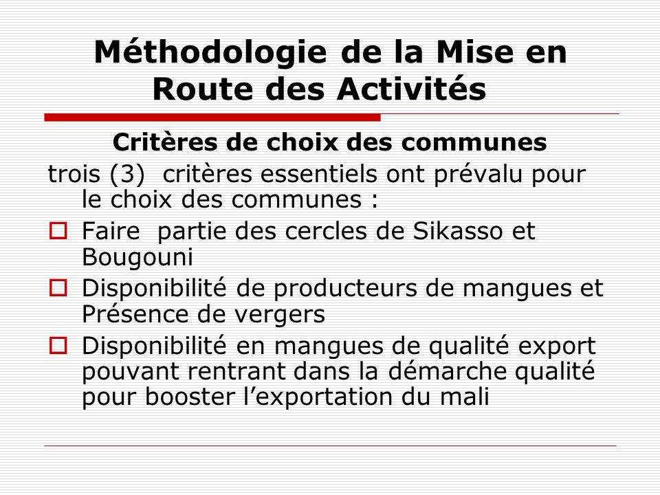 Méthodologie de la Mise en Route des Activités Critères de choix des communes trois (3) critères essentiels ont prévalu pour le choix des communes : F