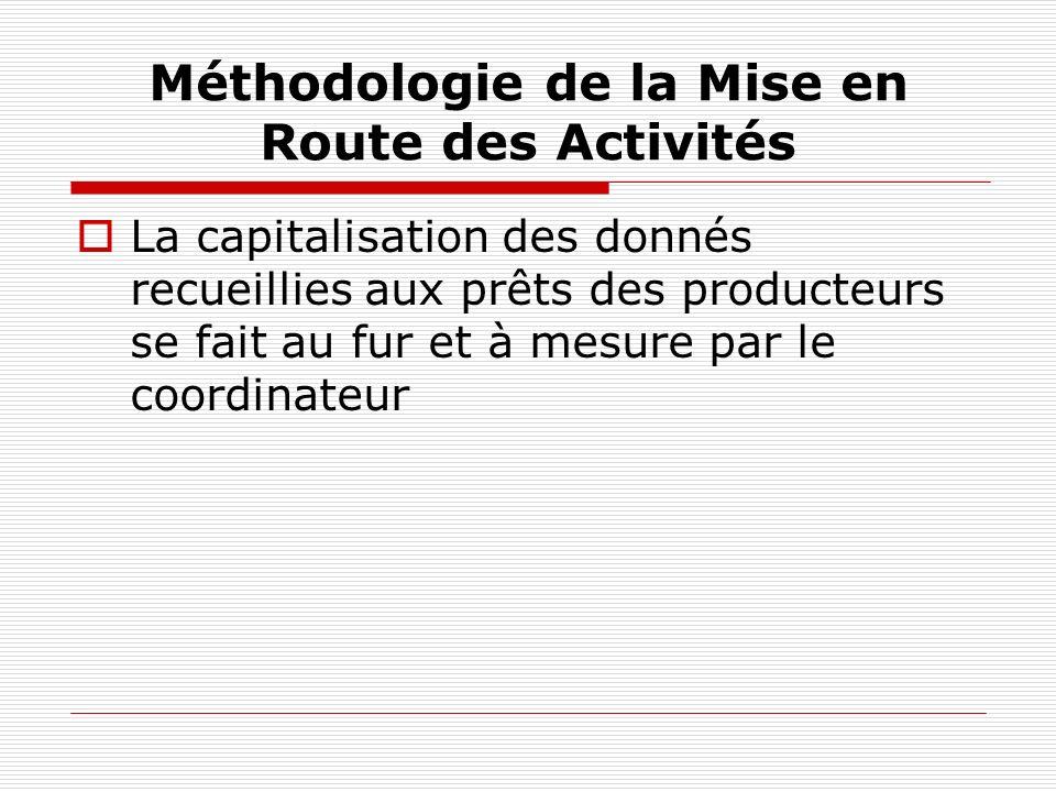 Méthodologie de la Mise en Route des Activités La capitalisation des donnés recueillies aux prêts des producteurs se fait au fur et à mesure par le coordinateur