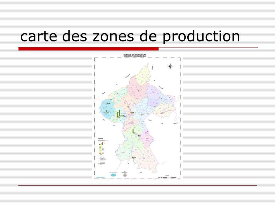 carte des zones de production