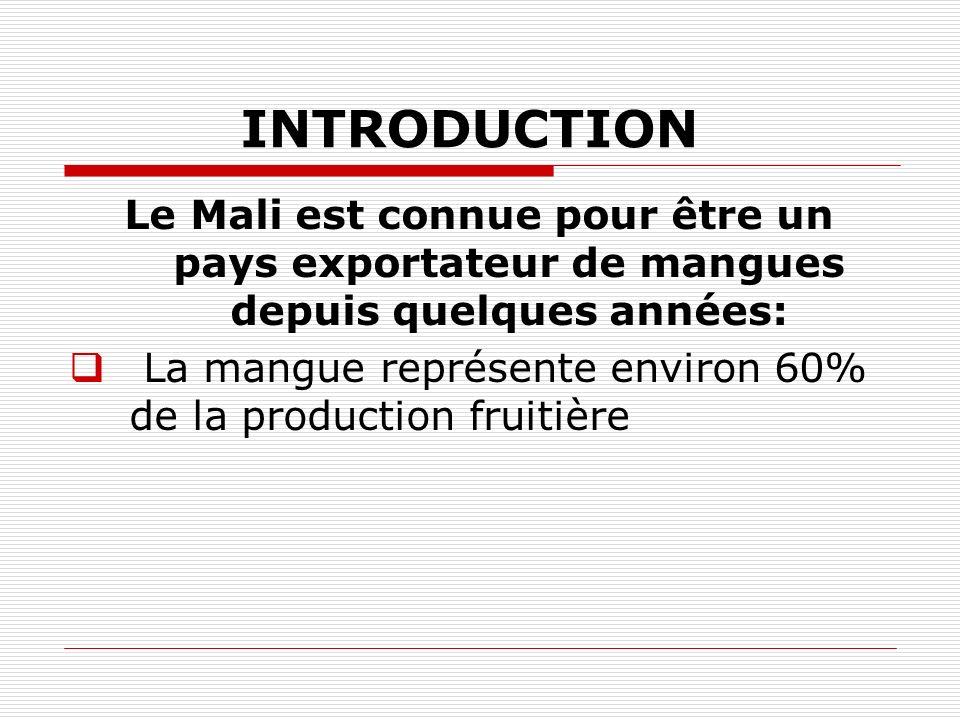 INTRODUCTION Le Mali est connue pour être un pays exportateur de mangues depuis quelques années: La mangue représente environ 60% de la production fru