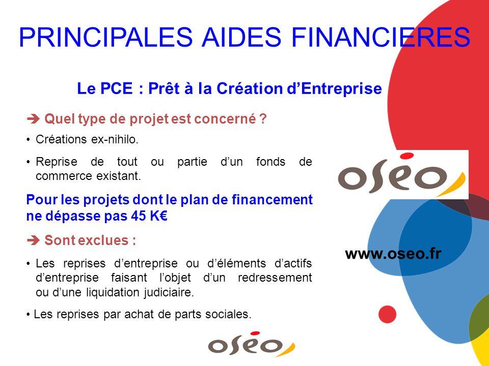 Le PCE : Prêt à la Création dEntreprise Quel type de projet est concerné ? Créations ex-nihilo. Reprise de tout ou partie dun fonds de commerce exista