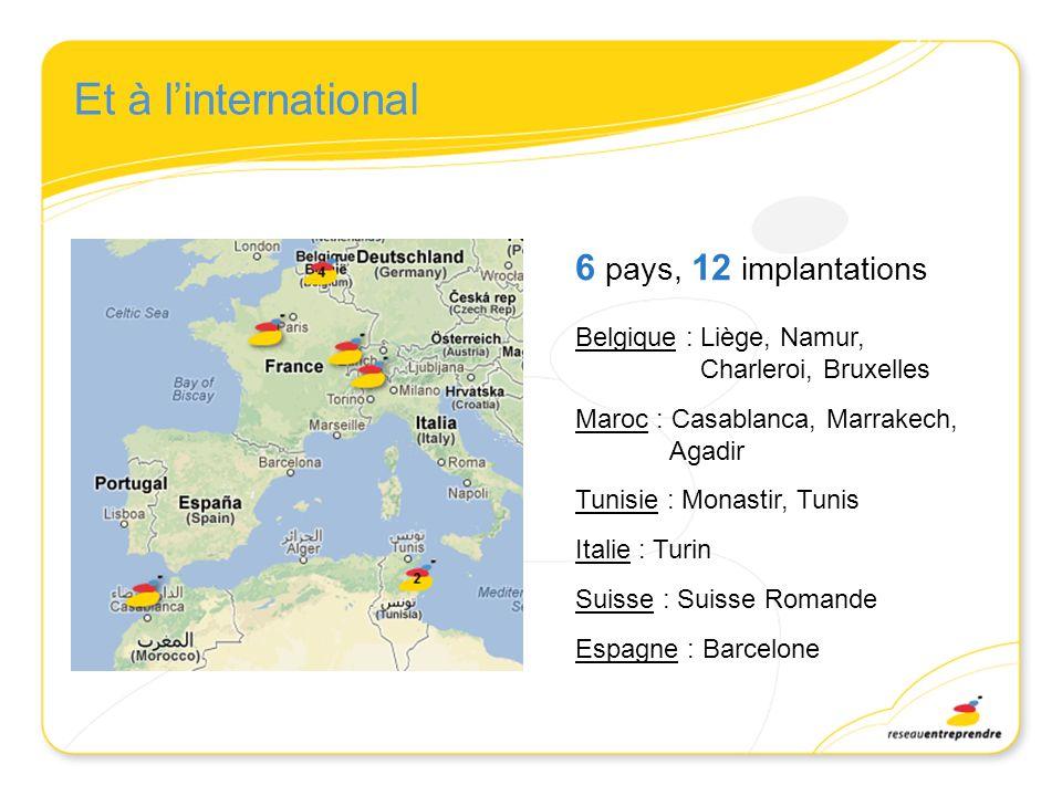 Et à linternational 6 pays, 12 implantations Belgique : Liège, Namur, Charleroi, Bruxelles Maroc : Casablanca, Marrakech, Agadir Tunisie : Monastir, T