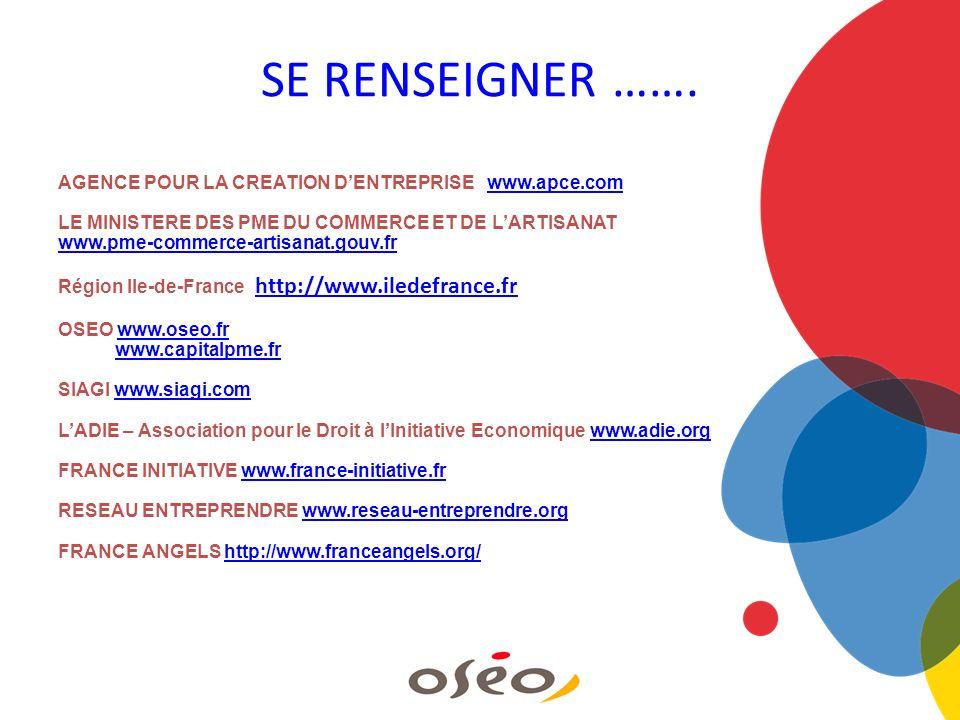 SE RENSEIGNER ……. AGENCE POUR LA CREATION DENTREPRISE www.apce.comwww.apce.com LE MINISTERE DES PME DU COMMERCE ET DE LARTISANAT www.pme-commerce-arti