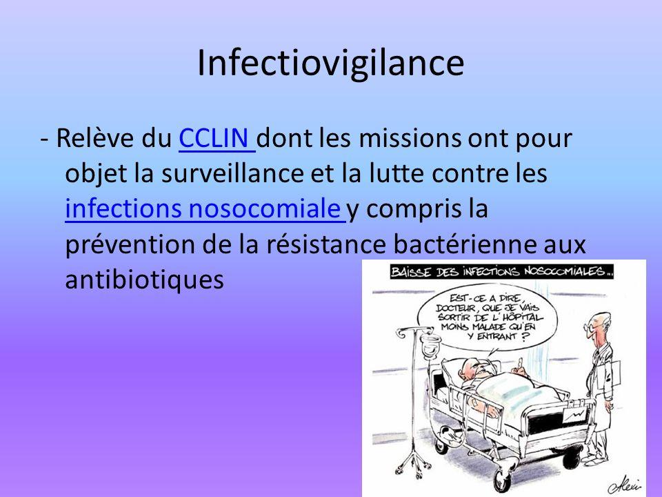 Infectiovigilance - Relève du CCLIN dont les missions ont pour objet la surveillance et la lutte contre les infections nosocomiale y compris la préven