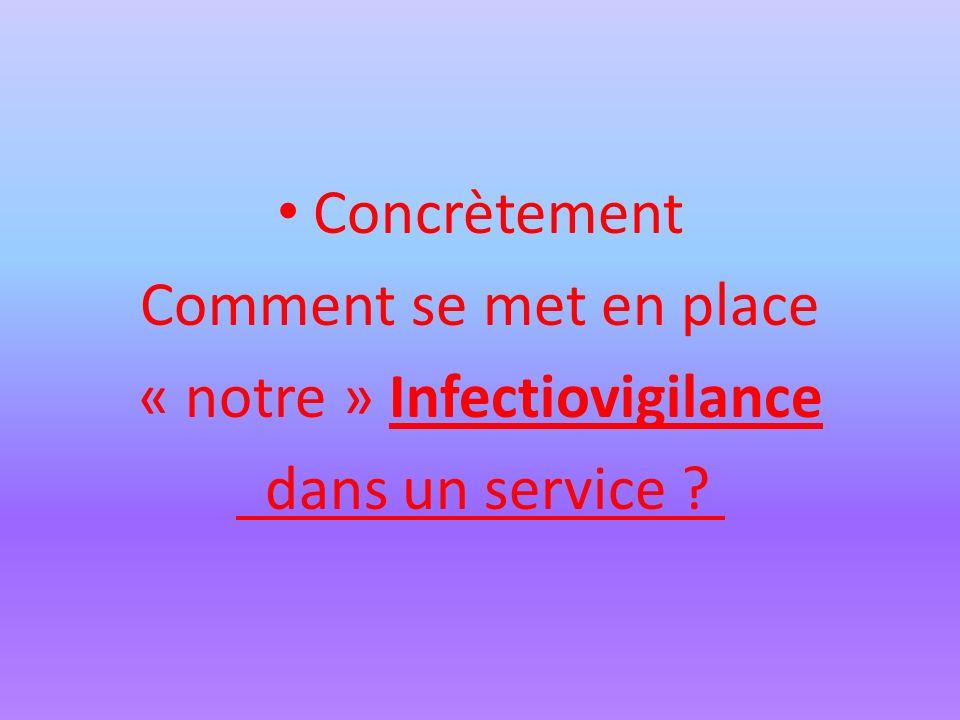 Concrètement Comment se met en place « notre » Infectiovigilance dans un service ?