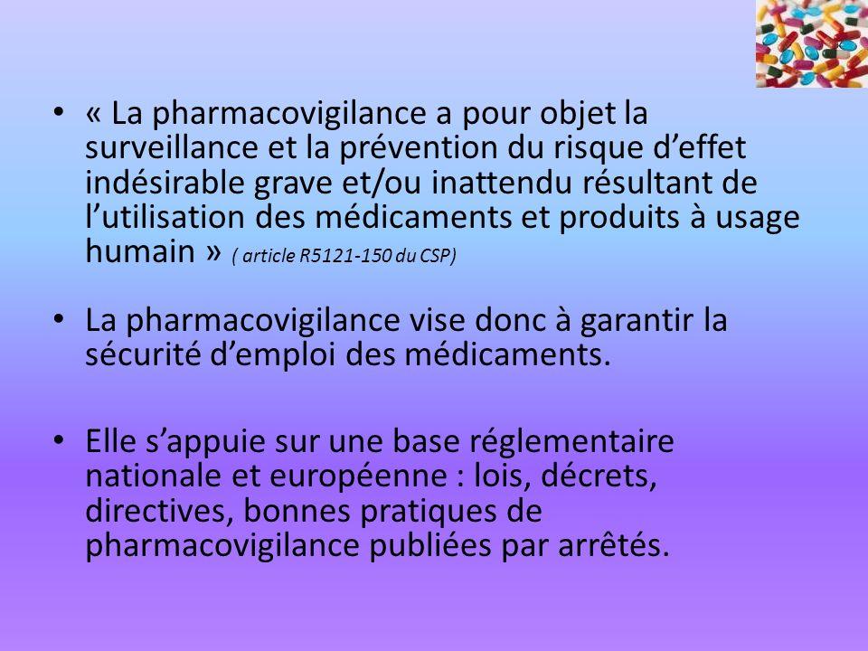« La pharmacovigilance a pour objet la surveillance et la prévention du risque deffet indésirable grave et/ou inattendu résultant de lutilisation des