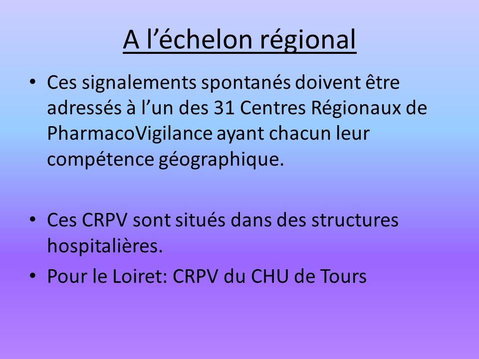 A léchelon régional Ces signalements spontanés doivent être adressés à lun des 31 Centres Régionaux de PharmacoVigilance ayant chacun leur compétence