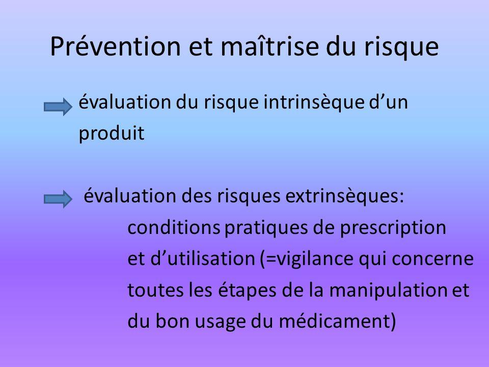 Prévention et maîtrise du risque évaluation du risque intrinsèque dun produit évaluation des risques extrinsèques: conditions pratiques de prescriptio