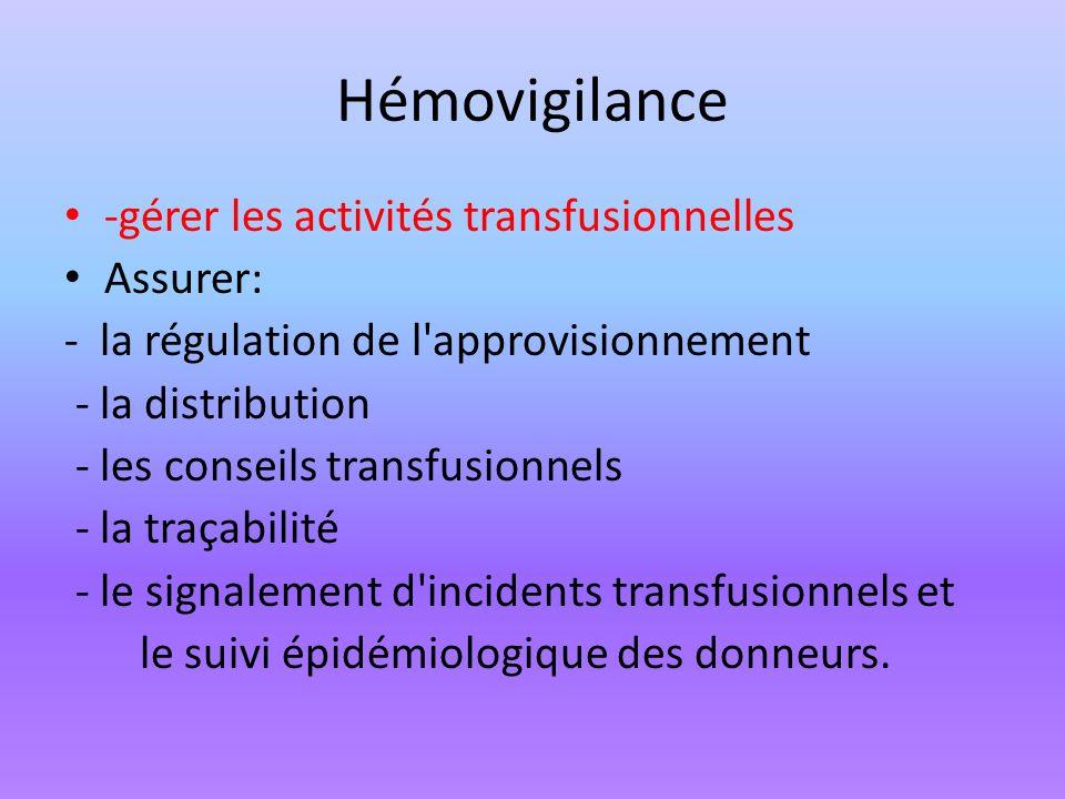 Hémovigilance -gérer les activités transfusionnelles Assurer: - la régulation de l'approvisionnement - la distribution - les conseils transfusionnels