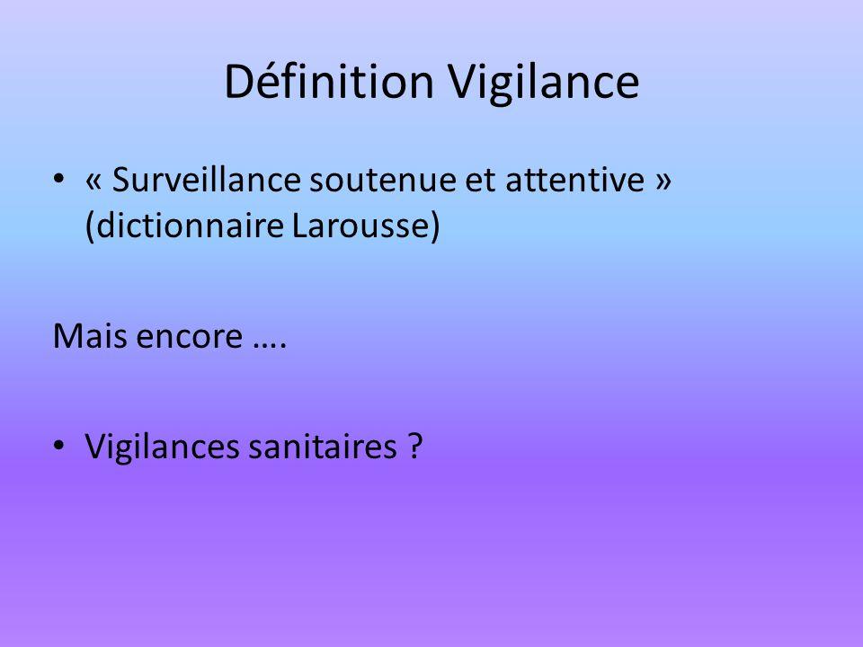 Définition Vigilance « Surveillance soutenue et attentive » (dictionnaire Larousse) Mais encore …. Vigilances sanitaires ?