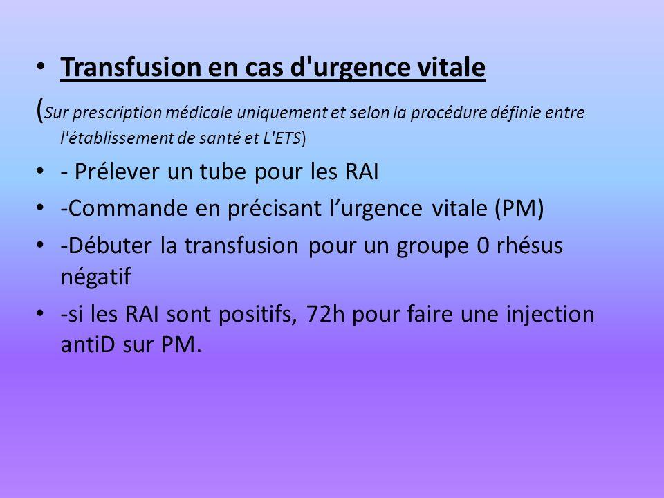 Transfusion en cas d'urgence vitale ( Sur prescription médicale uniquement et selon la procédure définie entre l'établissement de santé et L'ETS) - Pr