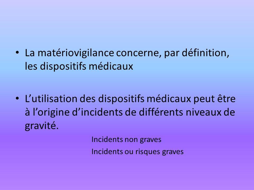 La matériovigilance concerne, par définition, les dispositifs médicaux Lutilisation des dispositifs médicaux peut être à lorigine dincidents de différ