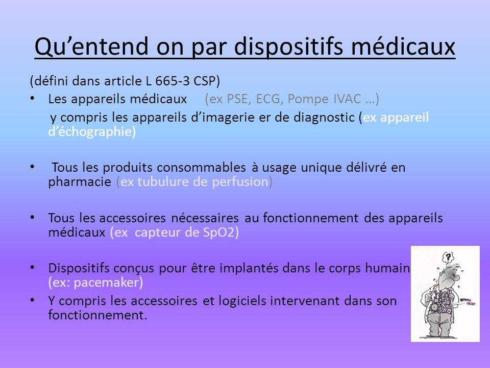 Quentend on par dispositifs médicaux (défini dans article L 665-3 CSP) Les appareils médicaux (ex PSE, ECG, Pompe IVAC …) y compris les appareils dima