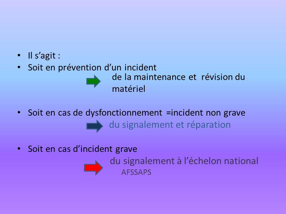 Il sagit : Soit en prévention dun incident de la maintenance et révision du matériel Soit en cas de dysfonctionnement =incident non grave du signaleme