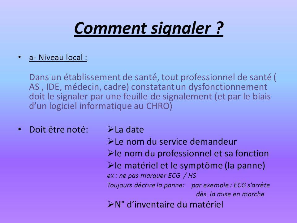 Comment signaler ? a- Niveau local : Dans un établissement de santé, tout professionnel de santé ( AS, IDE, médecin, cadre) constatant un dysfonctionn