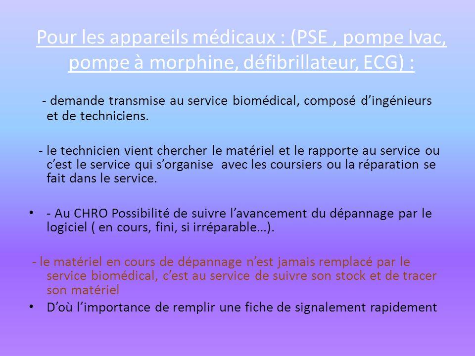 Pour les appareils médicaux : (PSE, pompe Ivac, pompe à morphine, défibrillateur, ECG) : - demande transmise au service biomédical, composé dingénieur