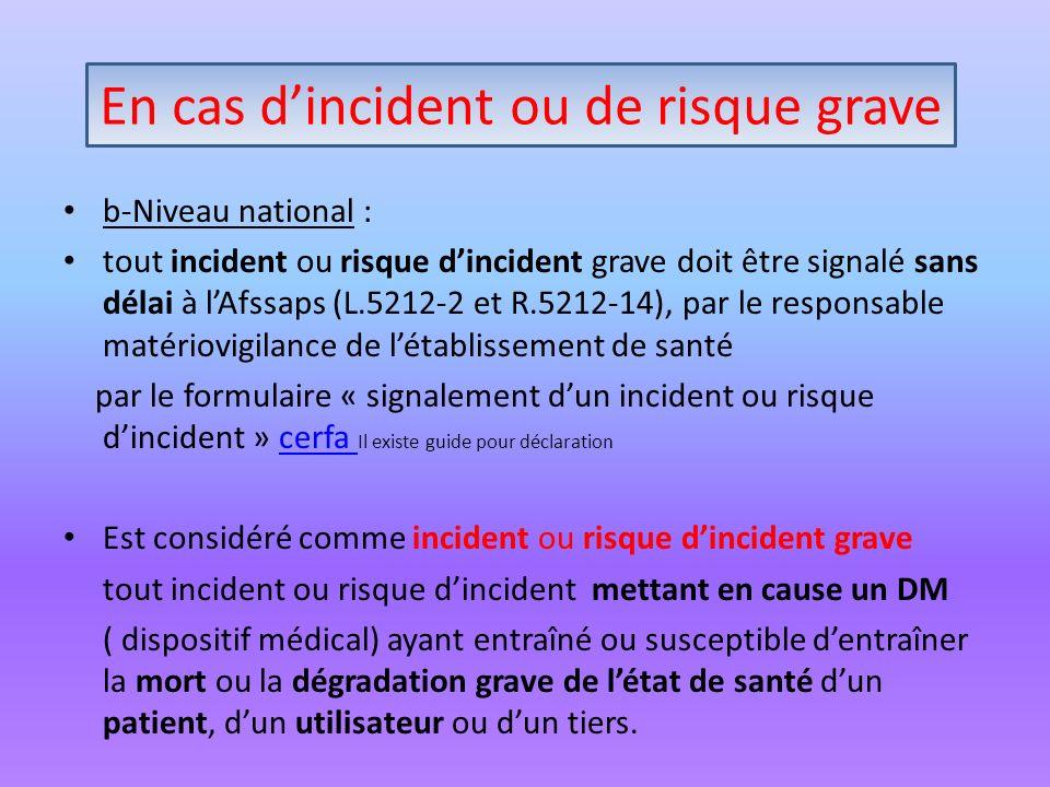 En cas dincident ou risque grave b-Niveau national : tout incident ou risque dincident grave doit être signalé sans délai à lAfssaps (L.5212-2 et R.52