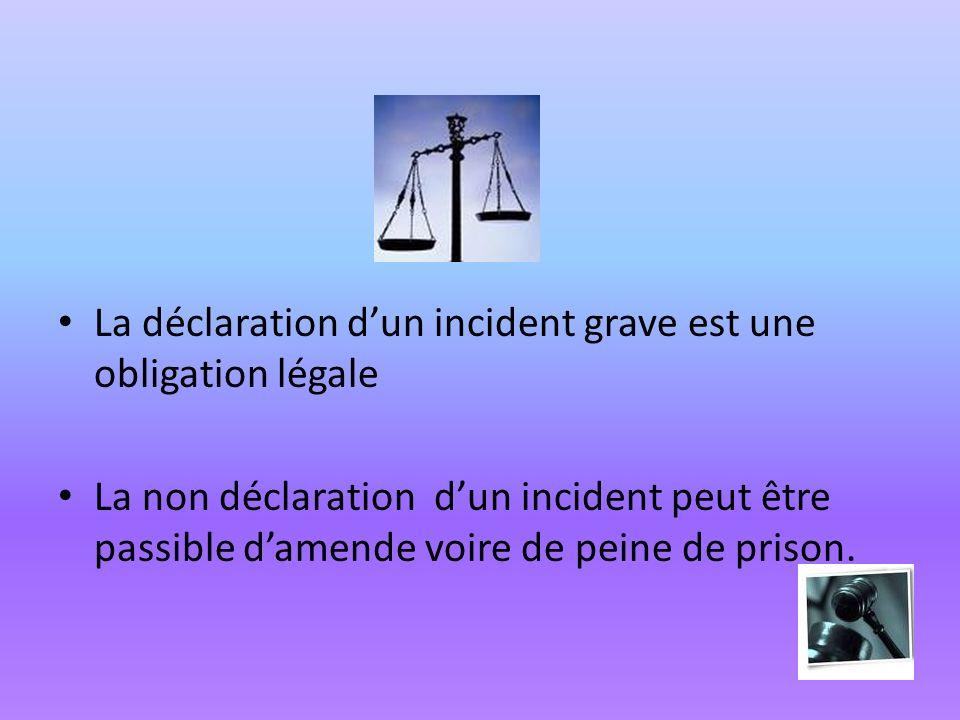 La déclaration dun incident grave est une obligation légale La non déclaration dun incident peut être passible damende voire de peine de prison.