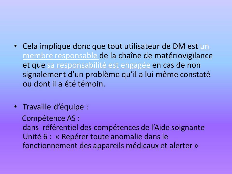Cela implique donc que tout utilisateur de DM est un membre responsable de la chaîne de matériovigilance et que sa responsabilité est engagée en cas d