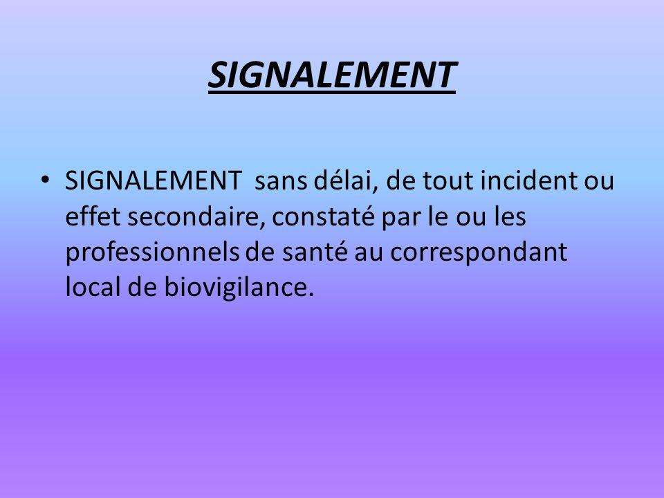 SIGNALEMENT SIGNALEMENT sans délai, de tout incident ou effet secondaire, constaté par le ou les professionnels de santé au correspondant local de bio