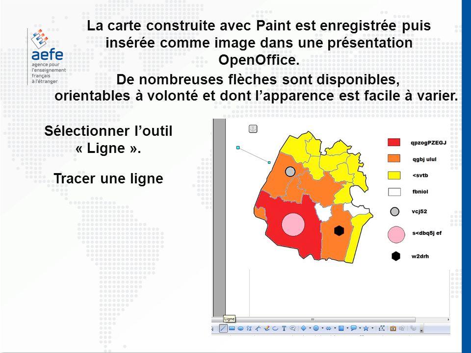 La carte construite avec Paint est enregistrée puis insérée comme image dans une présentation OpenOffice. De nombreuses flèches sont disponibles, orie