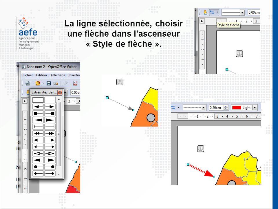 La ligne sélectionnée, choisir une flèche dans lascenseur « Style de flèche ».