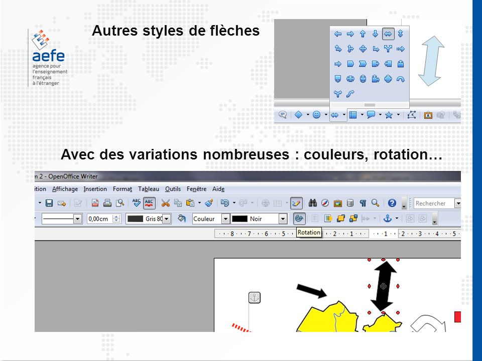 Autres styles de flèches Avec des variations nombreuses : couleurs, rotation…