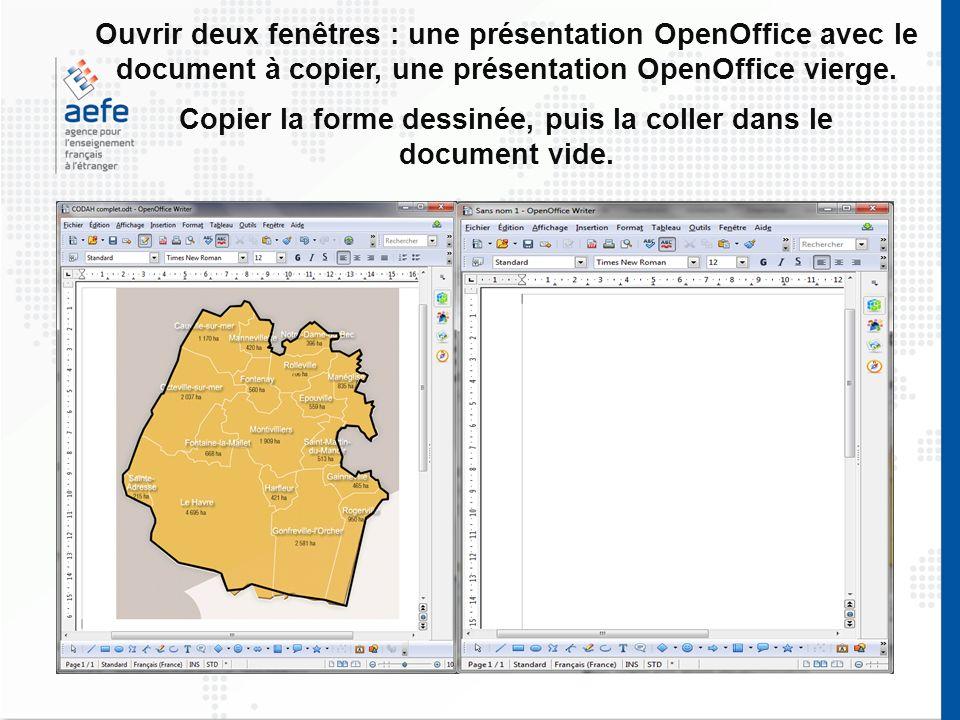 Ouvrir deux fenêtres : une présentation OpenOffice avec le document à copier, une présentation OpenOffice vierge. Copier la forme dessinée, puis la co