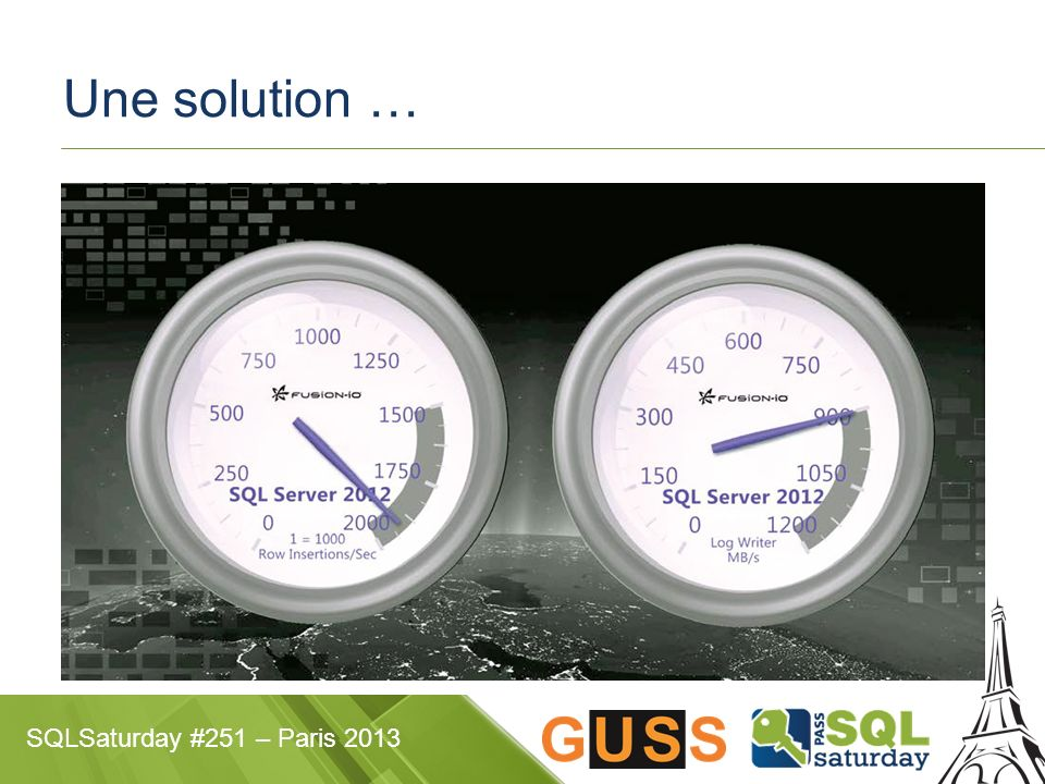 SQLSaturday #251 – Paris 2013 Une solution …