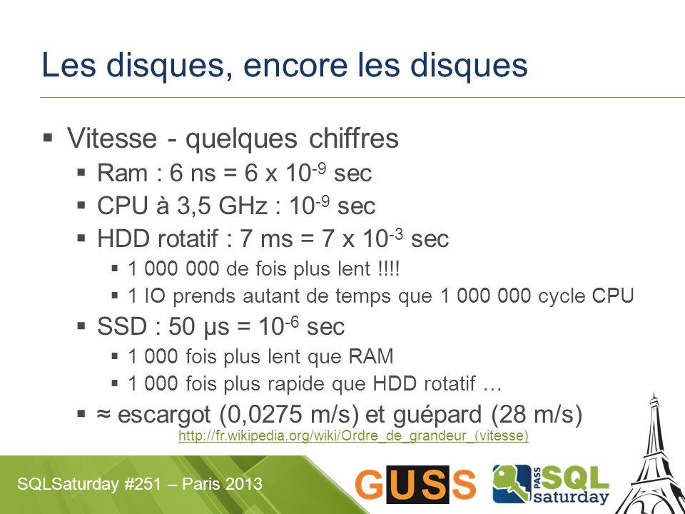 SQLSaturday #251 – Paris 2013 Les disques, encore les disques Vitesse - quelques chiffres Ram : 6 ns = 6 x 10 -9 sec CPU à 3,5 GHz : 10 -9 sec HDD rotatif : 7 ms = 7 x 10 -3 sec 1 000 000 de fois plus lent !!!.