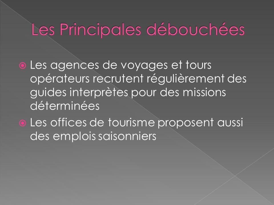 Les agences de voyages et tours opérateurs recrutent régulièrement des guides interprètes pour des missions déterminées Les offices de tourisme proposent aussi des emplois saisonniers