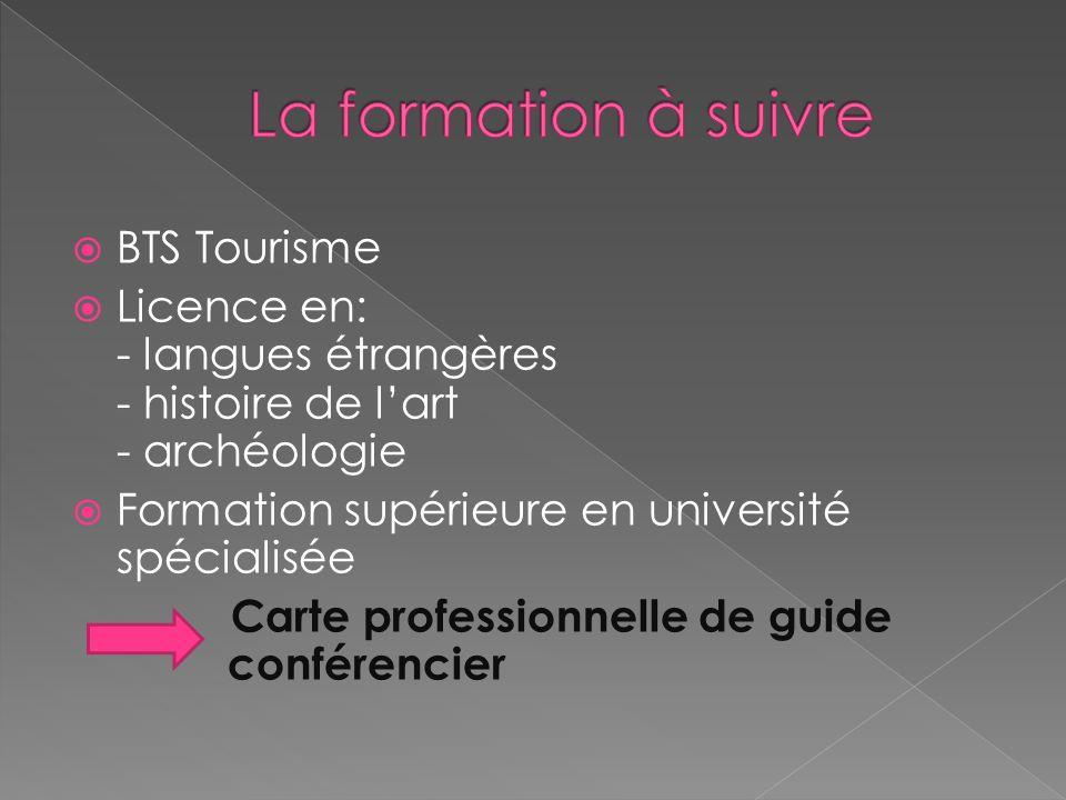 BTS Tourisme Licence en: - langues étrangères - histoire de lart - archéologie Formation supérieure en université spécialisée Carte professionnelle de guide _____conférencier