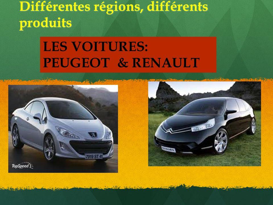 Différentes régions, différents produits LES VOITURES: PEUGEOT & RENAULT