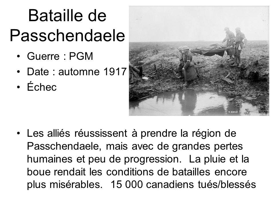 Bataille de Passchendaele Guerre : PGM Date : automne 1917 Échec Les alliés réussissent à prendre la région de Passchendaele, mais avec de grandes per