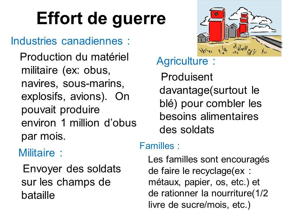 Effort de guerre Industries canadiennes : Production du matériel militaire (ex: obus, navires, sous-marins, explosifs, avions). On pouvait produire en