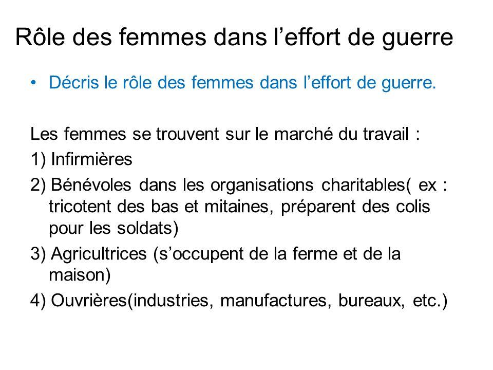 Rôle des femmes dans leffort de guerre Décris le rôle des femmes dans leffort de guerre. Les femmes se trouvent sur le marché du travail : 1) Infirmiè