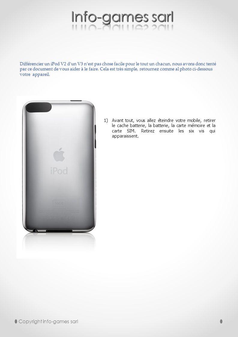 Copyright info-games sarl 2) À laide dun outil plastique vous pouvez retirer la partie arrière de votre mobile.