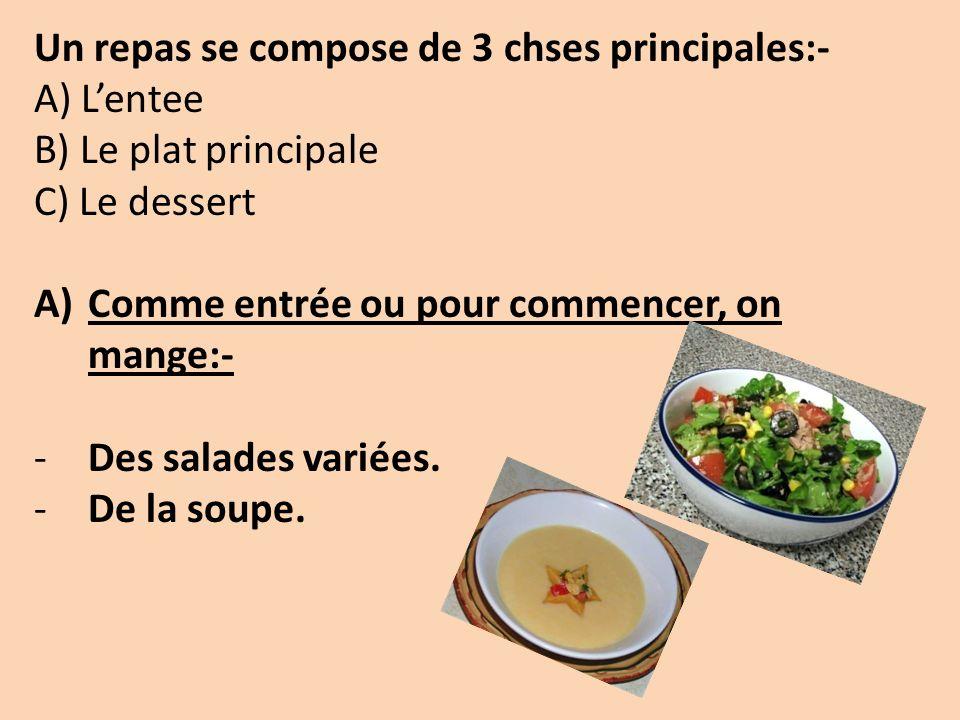 Un repas se compose de 3 chses principales:- A) Lentee B) Le plat principale C) Le dessert A)Comme entrée ou pour commencer, on mange:- -Des salades variées.