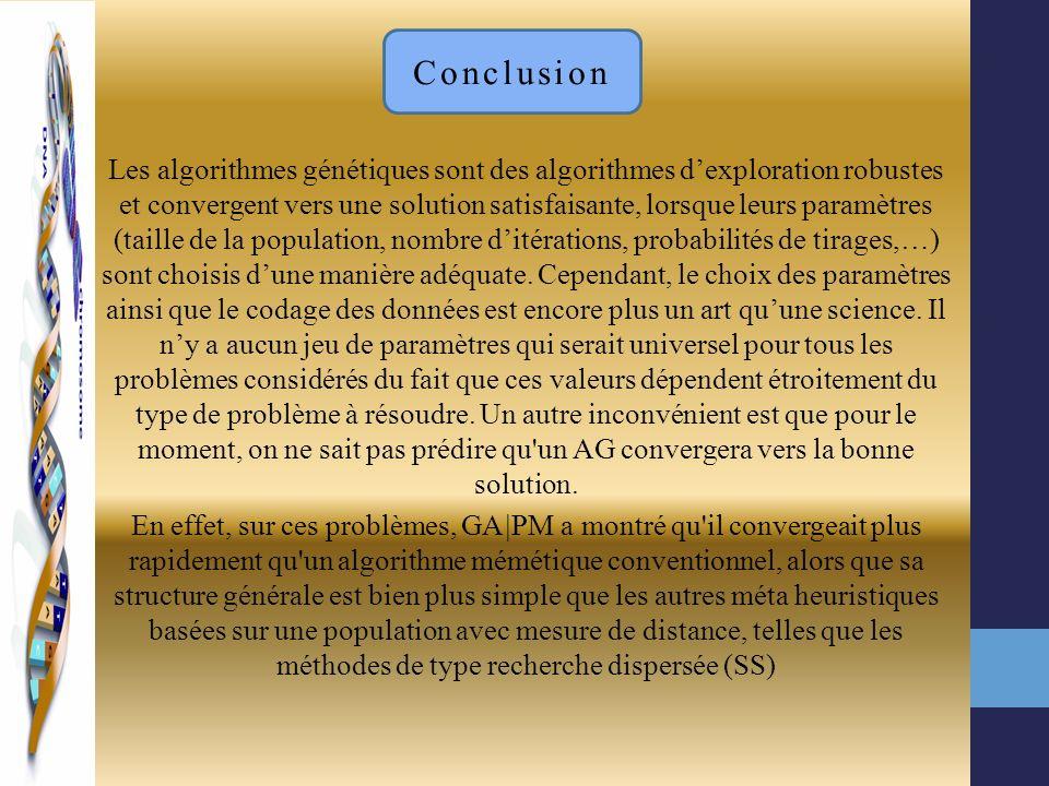 Les algorithmes génétiques sont des algorithmes dexploration robustes et convergent vers une solution satisfaisante, lorsque leurs paramètres (taille