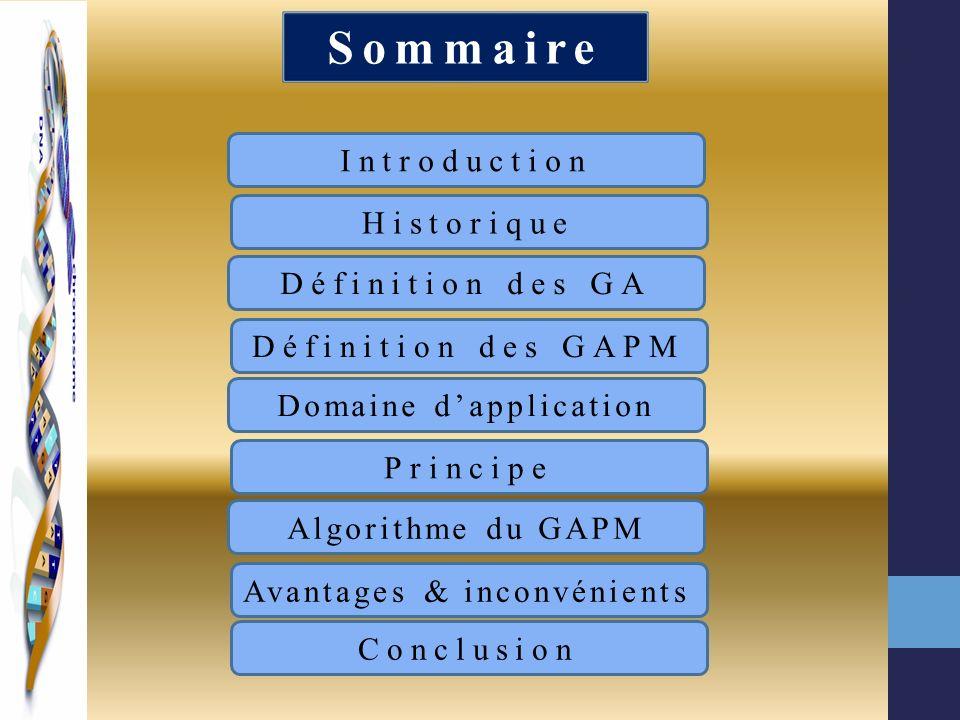 Sommaire Introduction Historique Définition des GA Définition des GAPM Domaine dapplication Principe Algorithme du GAPM Avantages & inconvénients Conc