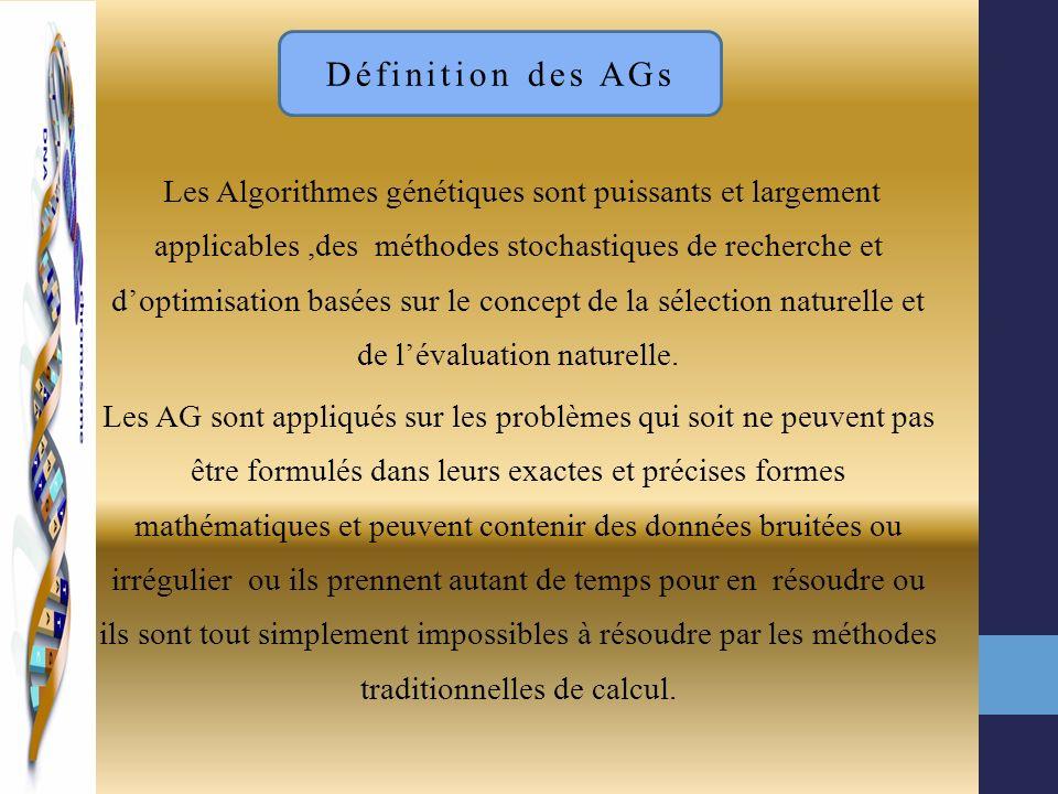 Les Algorithmes génétiques sont puissants et largement applicables,des méthodes stochastiques de recherche et doptimisation basées sur le concept de l