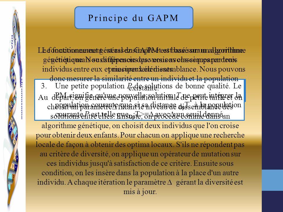 Principe du GAPM Le fonctionnement général du GA|PM est basé sur un algorithme génétique mais se différencie des versions classiques par trois princip