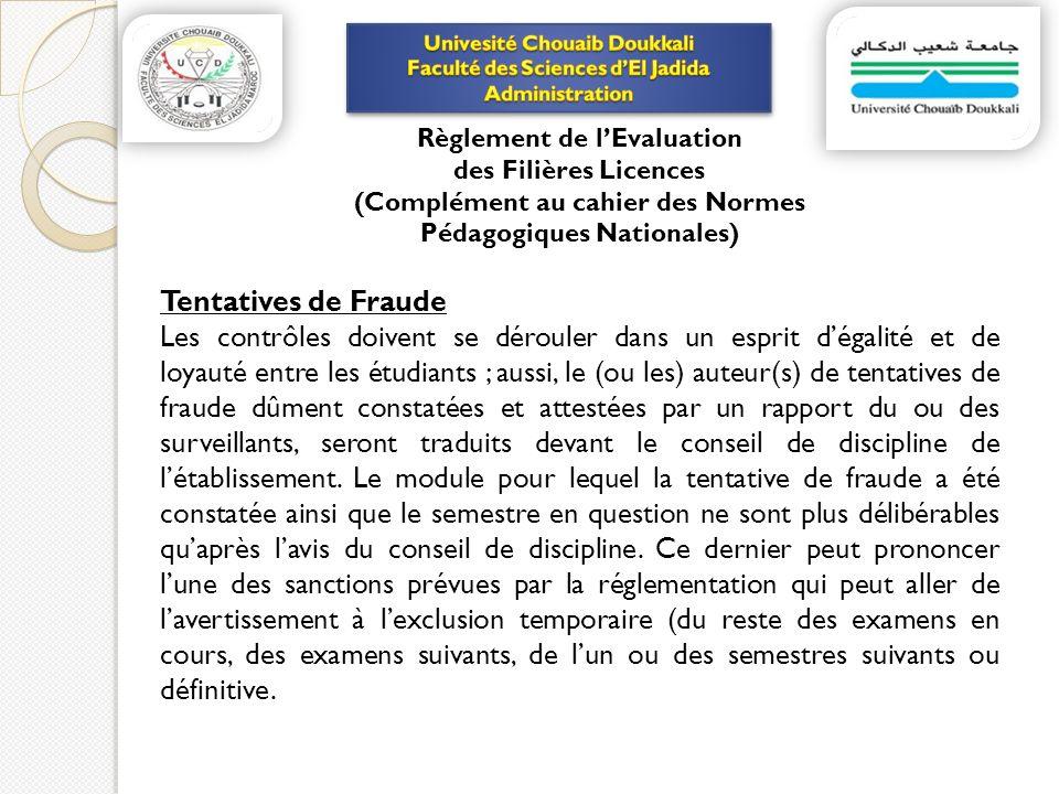 Tentatives de Fraude Les contrôles doivent se dérouler dans un esprit dégalité et de loyauté entre les étudiants ; aussi, le (ou les) auteur(s) de ten