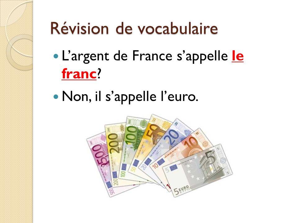 Révision de vocabulaire Largent de France sappelle le franc? Non, il sappelle leuro.