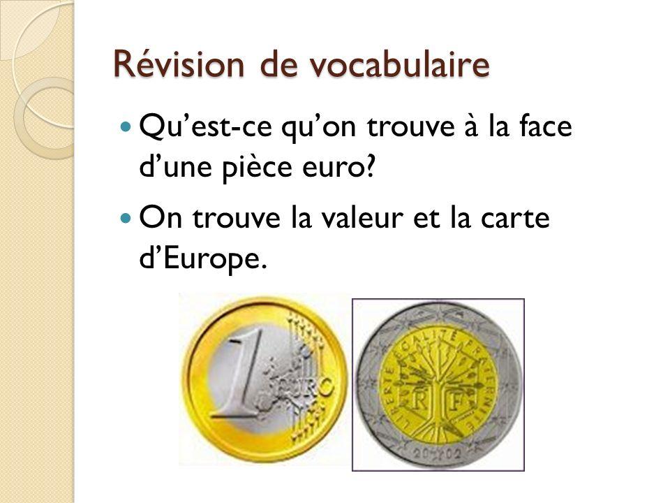 Révision de vocabulaire Quest-ce quon trouve à la face dune pièce euro? On trouve la valeur et la carte dEurope.