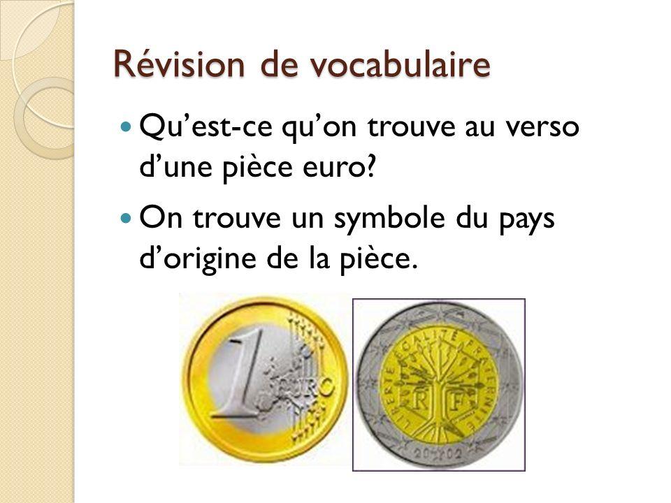 Révision de vocabulaire Quest-ce quon trouve au verso dune pièce euro? On trouve un symbole du pays dorigine de la pièce.